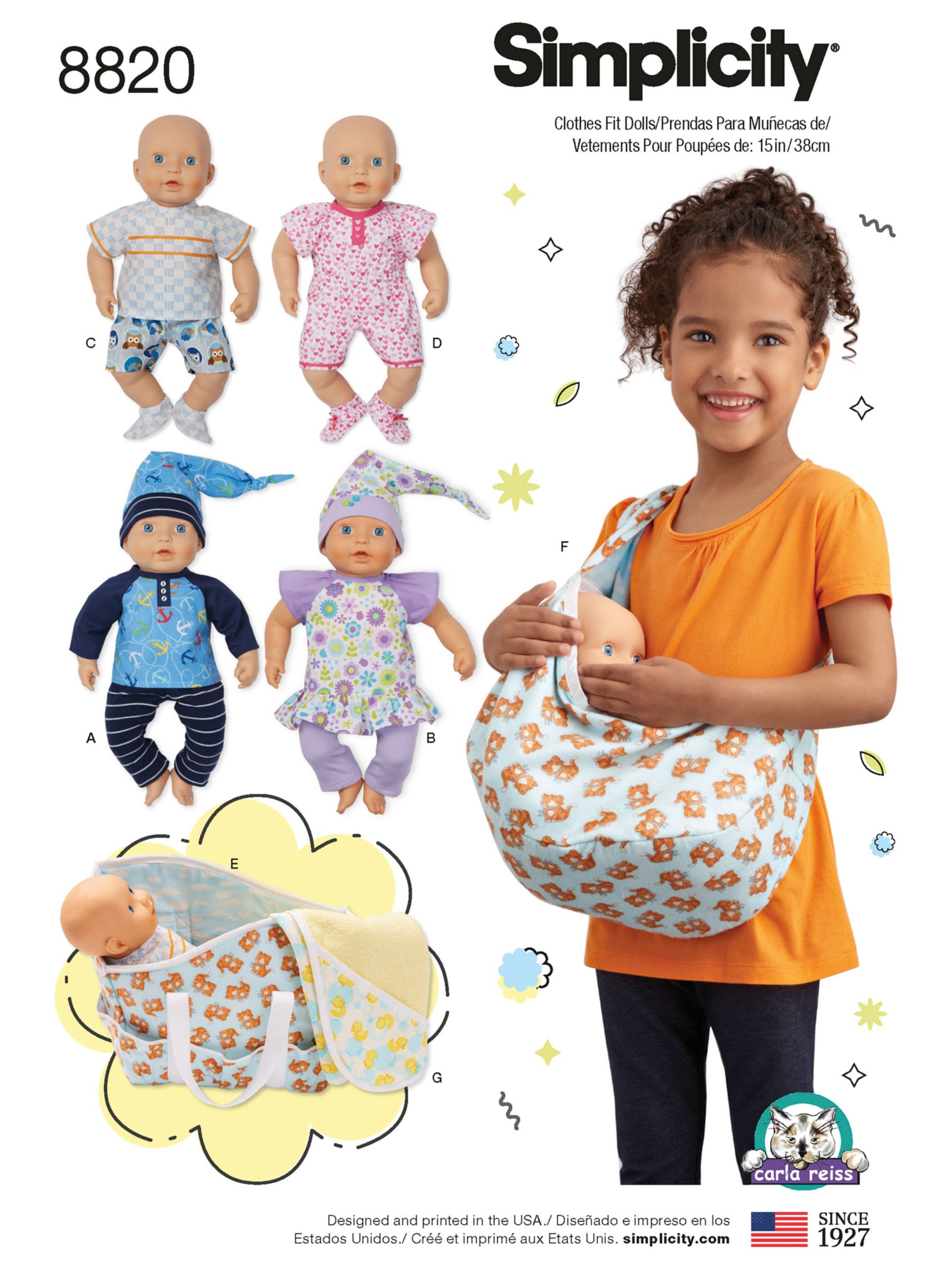 Simplicity Simplicity Children's Doll's Clothes and Accessories Sewing Pattern, 8820