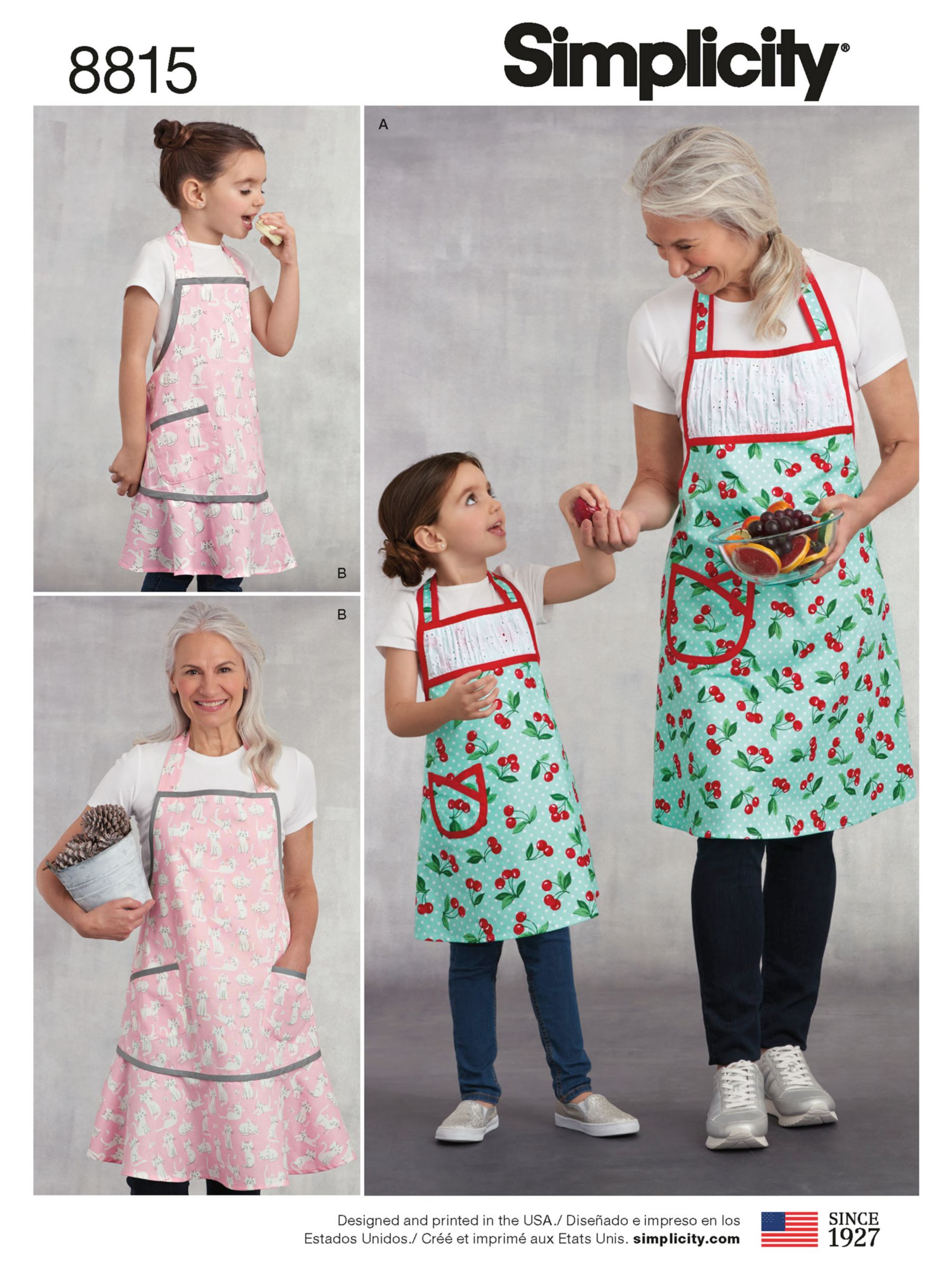 Simplicity Simplicity Women's and Children Matching Aprons Sewing Pattern, 8815, A