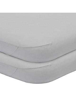 John Lewis & Partners Seconds GOTS Organic Cotton Fitted Moses Basket Sheet, Pack of 2, 33 x 76cm