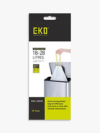 EKO Recycling Bin Liners, 18/28L, Pack of 20