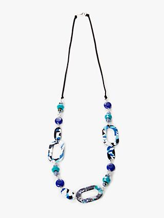 One Button Marble Geometric Shape Long Necklace, Navy/Multi
