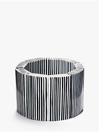 One Button Stretch Pinstripe Cuff, Black/Ivory