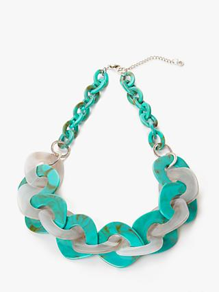 One Button Interlink Hoop Statement Necklace, Aqua/Grey