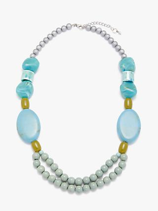 One Button Ceramic Bead Necklace, Aqua/Multi
