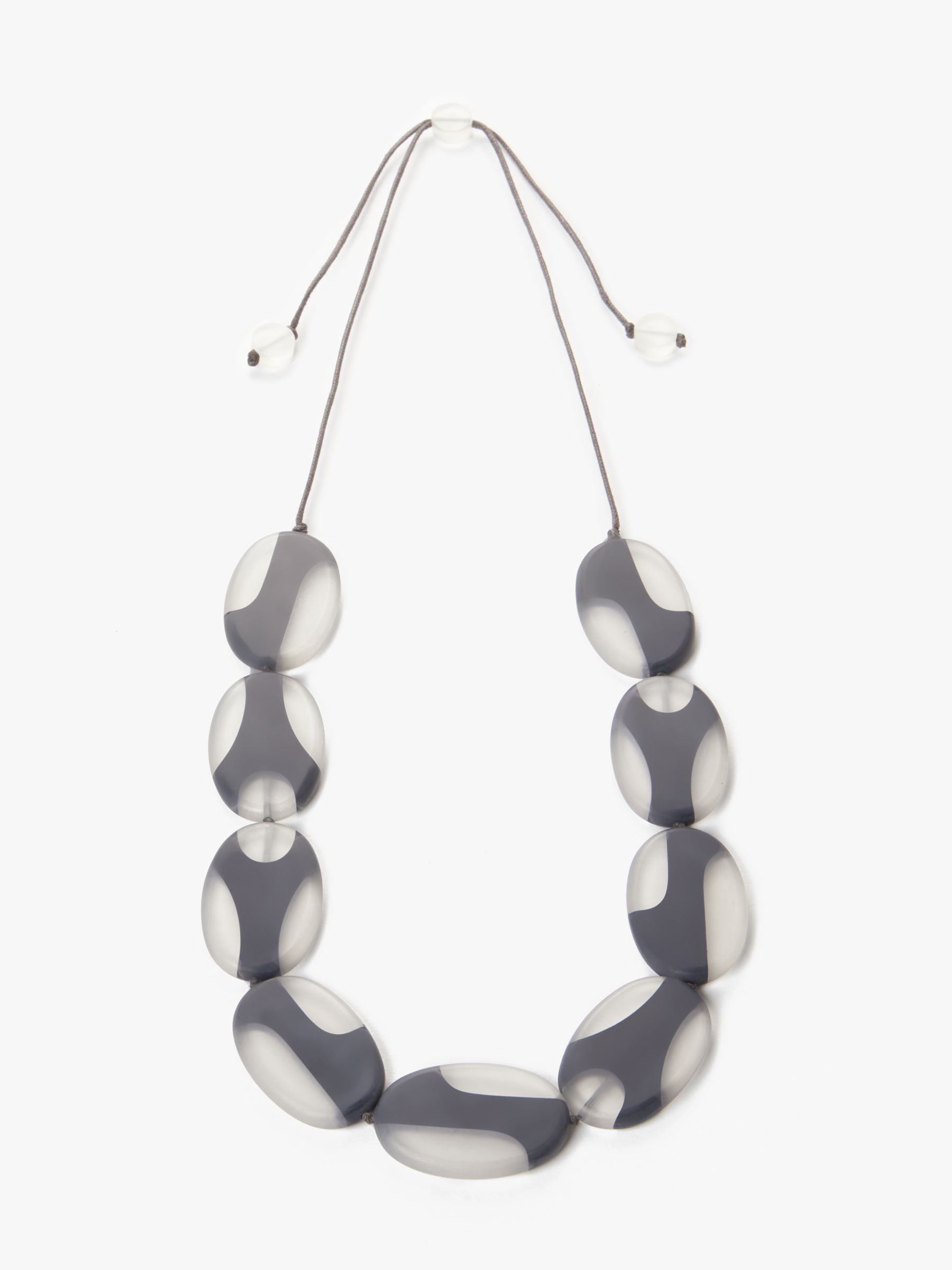 One Button One Button Resin Ellipse Long Necklace, Grey/White
