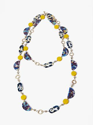 One Button Multi Bead Long Layered Necklace, Navy/Multi