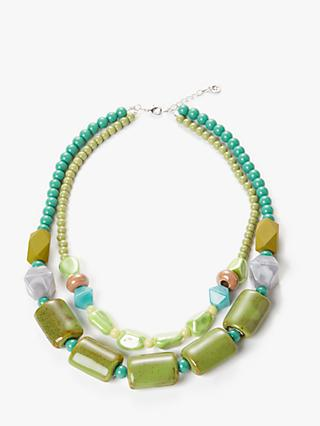 One Button Double Layer Ceramic Bead Necklace, Green/Multi