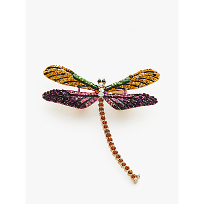 One Button Crystal Dragonfly Brooch, Multi
