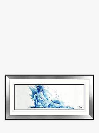 Joanne Boon Thomas - Reclining Nude Framed Print & Mount, 55.5 x 110.5cm, Blue