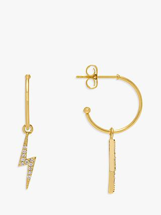 Estella Bartlett Lightning Drop Hoop Earrings, Gold