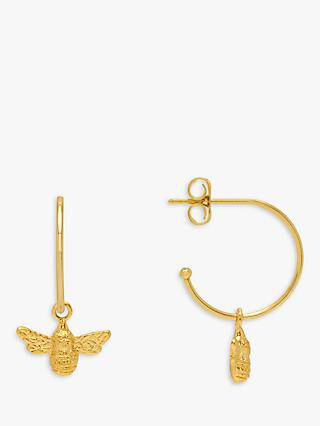 Estella Bartlett Bee Drop Hoop Earrings, Gold
