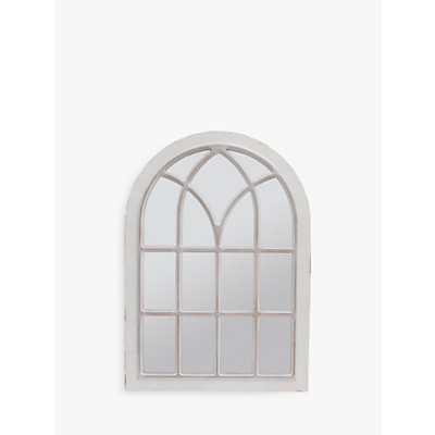Libra Distressed Arched Window Mirror, Cream, H111 x W78cm