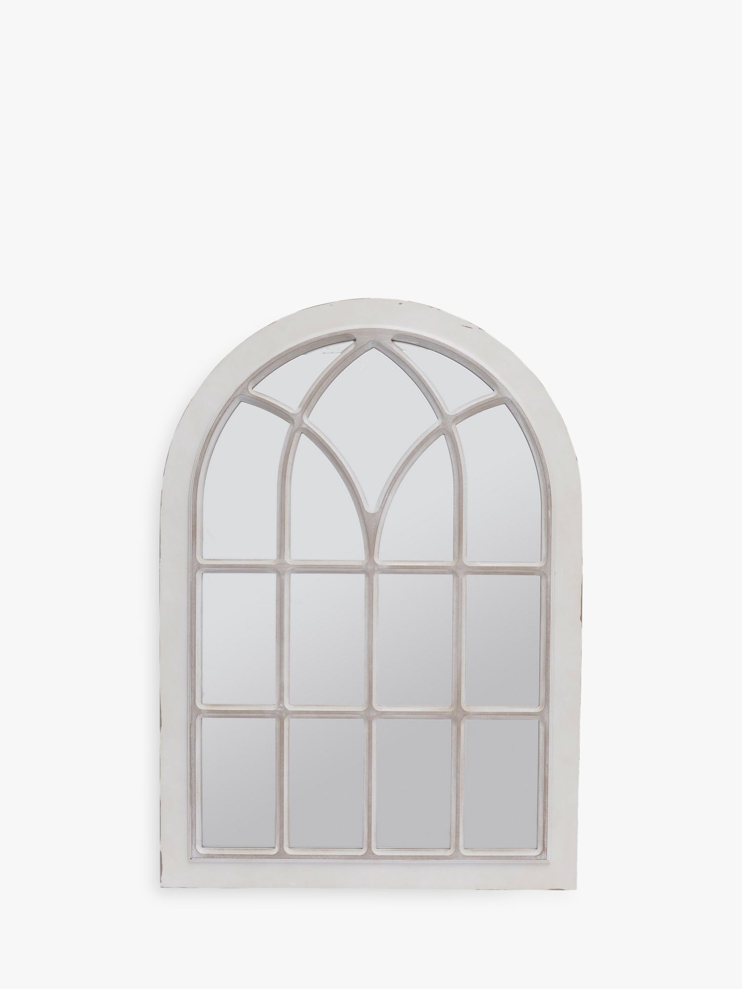 Libra Libra Distressed Arched Window Mirror, Cream, H111 x W78cm