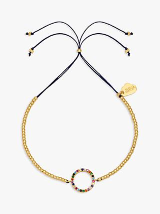 Estella Bartlett Beaded Rainbow Circle Bracelet, Gold