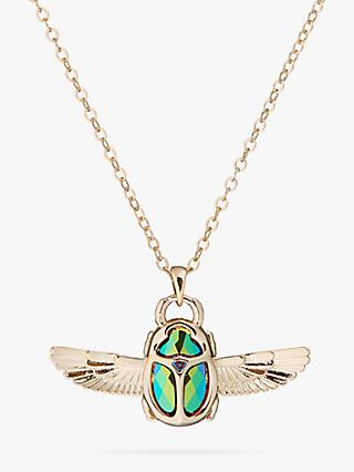 Ted Baker Swarovski Crystal Scarab Chain Necklace, Pale Gold