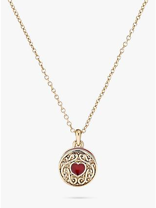 Ted Baker Baltia Enamel Biscuit Pendant Necklace, Pale Gold/Red