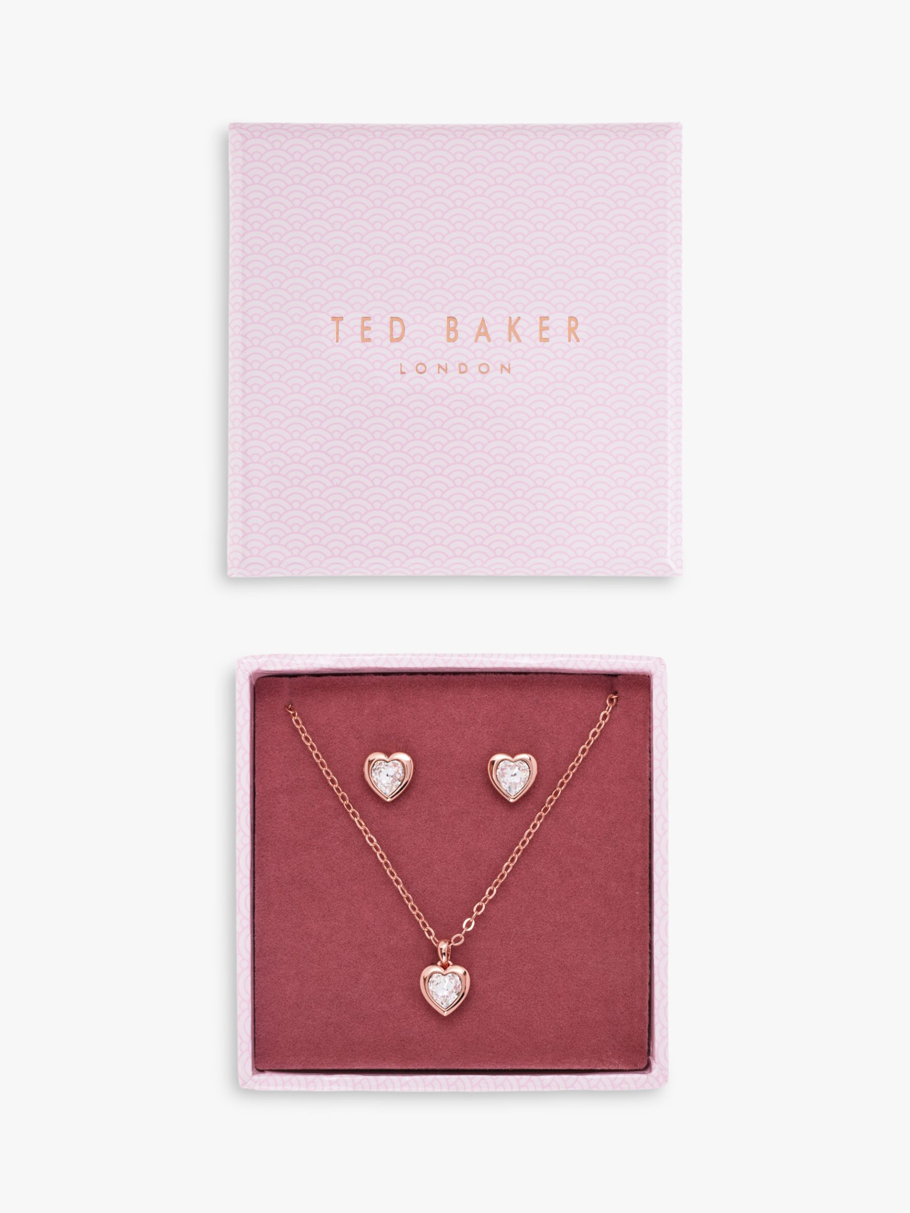 Ted Baker Swarovski Crystal Heart Pendant Necklace And Stud Earrings Jewellery Gift Set At John Lewis Partners