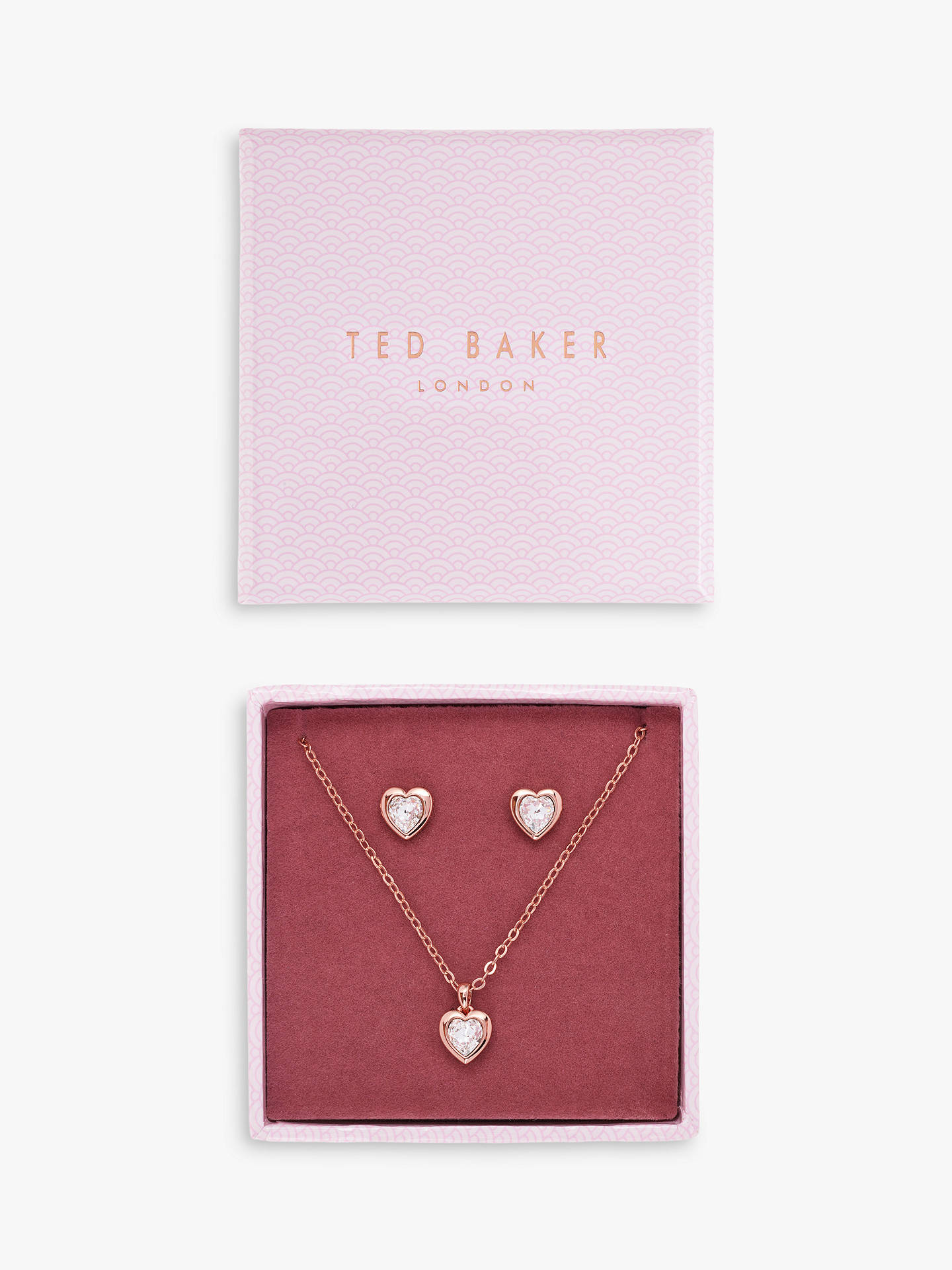 de75261193106 Ted Baker Swarovski Crystal Heart Pendant Necklace and Stud Earrings  Jewellery Gift Set, Rose Gold