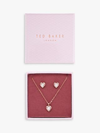 Ted Baker Swarovski Crystal Heart Pendant Necklace and Stud Earrings Jewellery Gift Set
