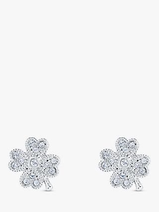Ted Baker Hiila Swarovski Crystal Clover Stud Earrings, Silver