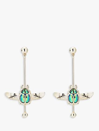 Ted Baker Agoria Swarovski Crystal Scarab Drop Earrings, Gold