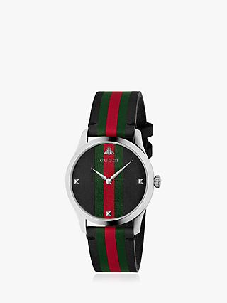 Gucci YA1264079 Unisex G-Timeless Leather Strap Watch, Multi