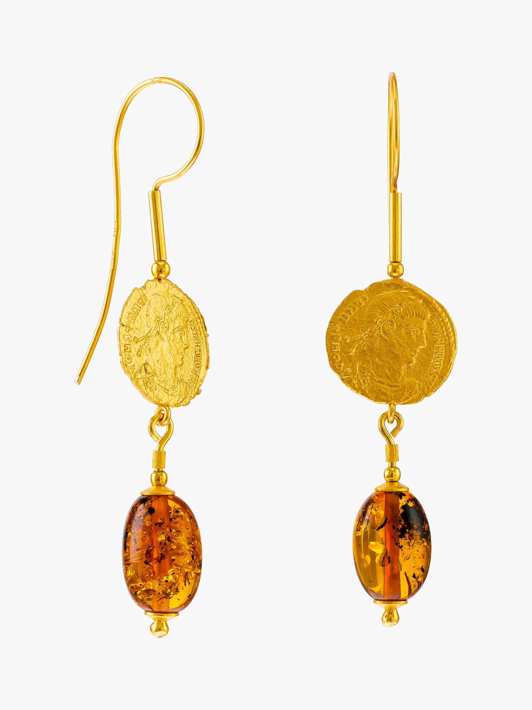 Be-Jewelled Be-Jewelled Baltic Amber Antique Coins Drop Earrings, Gold/Cognac