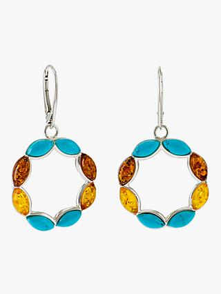 Be-Jewelled Turquoise and Amber Circle Drop Earrings, Silver/Multi