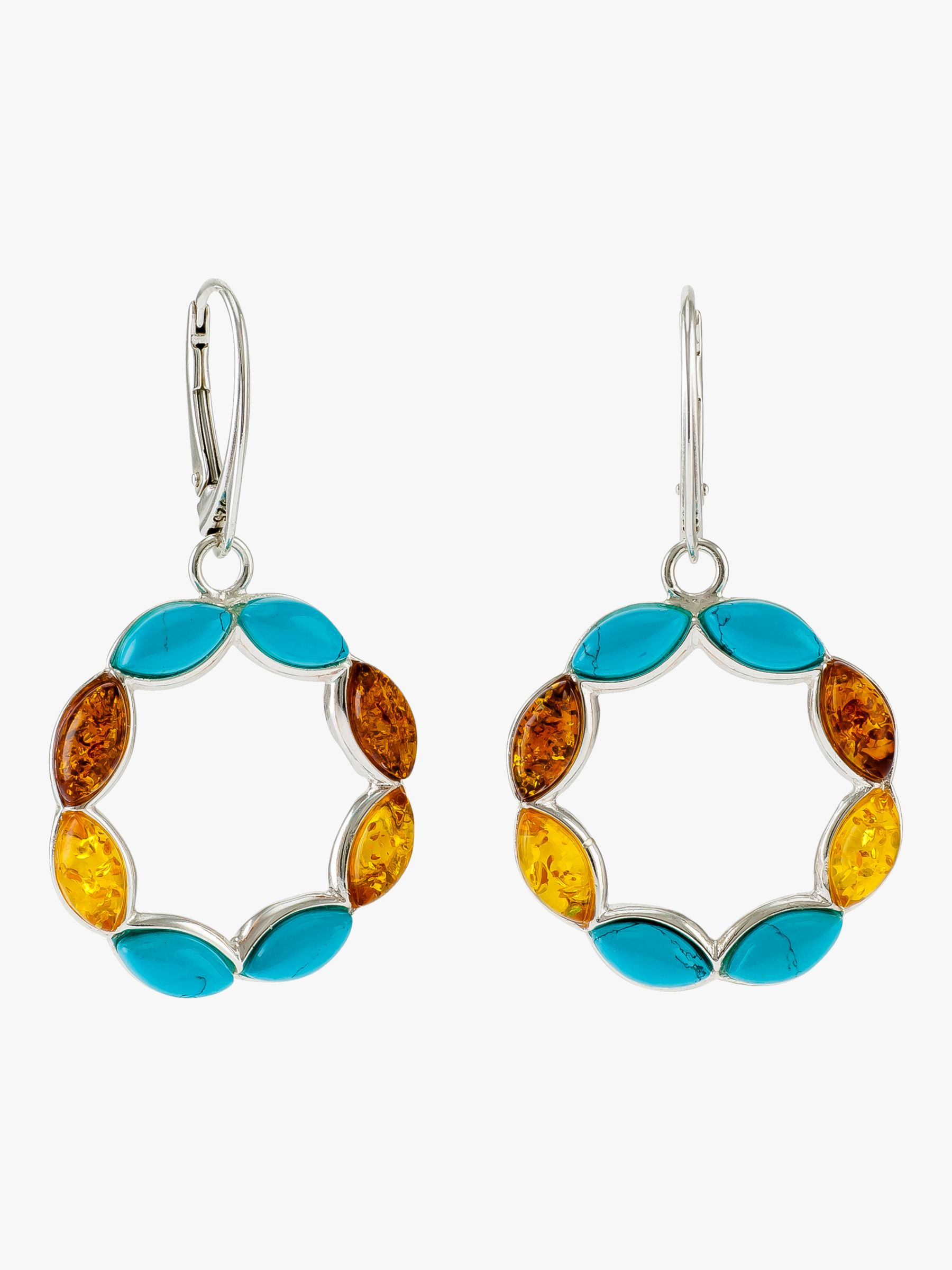 Be-Jewelled Be-Jewelled Turquoise and Amber Circle Drop Earrings, Silver/Multi