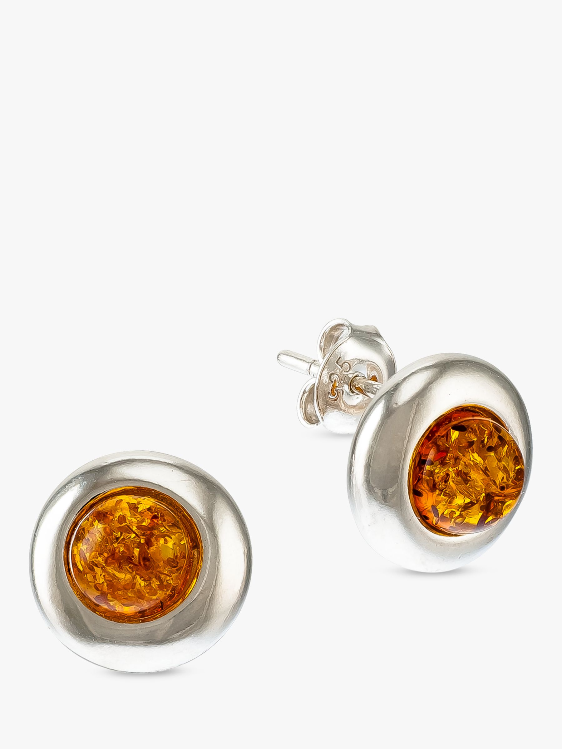 Be-Jewelled Be-Jewelled Baltic Amber Round Stud Earrings, Silver/Cognac