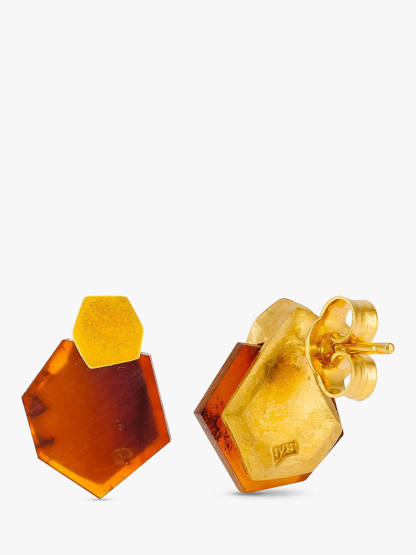 BuyBe-Jewelled Hexagonal Baltic Amber Stud Earrings, Gold/Cognac Online at johnlewis.com