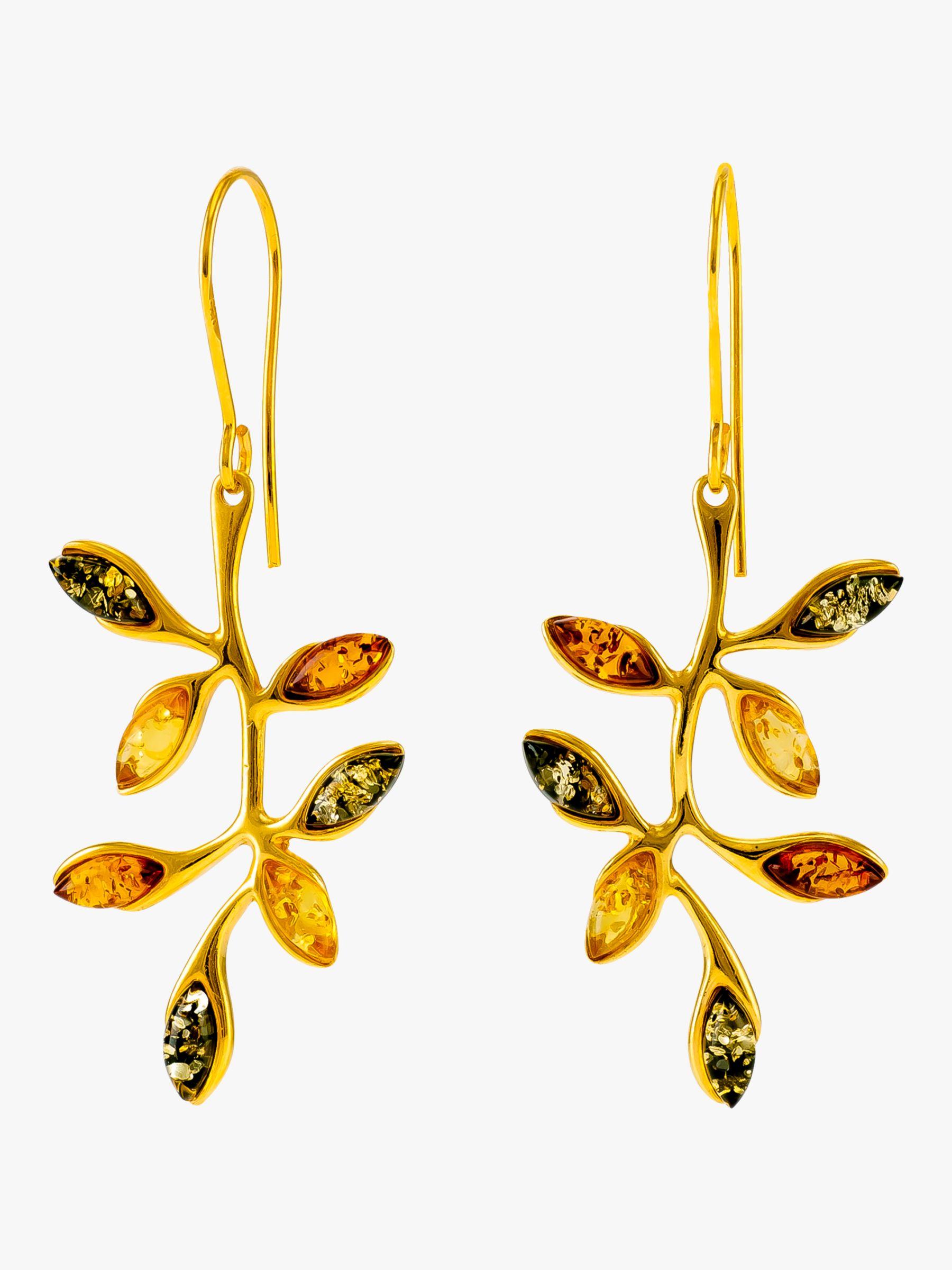 Be-Jewelled Be-Jewelled Baltic Amber Autumn Leaf Drop Earrings, Gold/Multi
