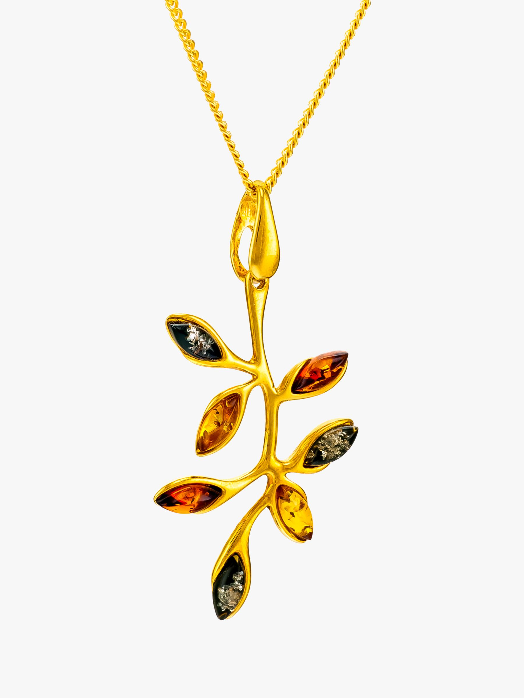 Be-Jewelled Be-Jewelled Baltic Amber Autumn Leaf Pendant Necklace, Gold/Multi
