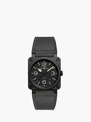Bell & Ross BR0392-BL3-CE/SCA Men's Nightlum Automatic Date Leather Strap Watch, Grey/Black