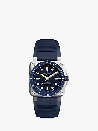 Bell & Ross BR0392-D-BU-ST/SRB Men's Diver Automatic Date Rubber Strap Watch, Dark Blue