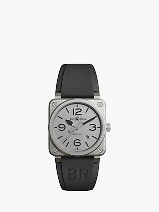Bell & Ross BR0392-GBL-ST/SRB Men's Horoblack Automatic Date Rubber Strap Watch, Black/Grey