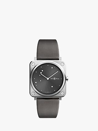 Bell & Ross BRS-ERU-ST/SCA Women's BRS Diamond Leather Strap Watch, Grey