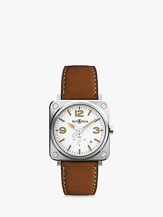 Bell & Ross BRS-WHERI-ST/SCA Unisex Heritage Date Leather Strap Watch, Tan/White
