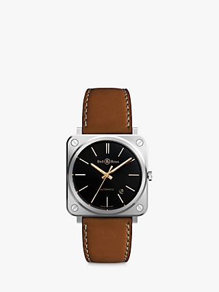 Bell & Ross BRS92-ST-G-HE/SCA Unisex Golden Heritage Automatic Date Leather Strap Watch, Tan/Black
