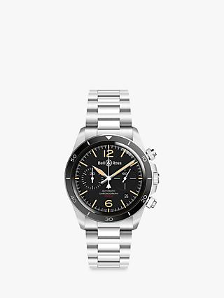 Bell & Ross BRV294-HER-ST/SST Men's Heritage Chronograph Automatic Date Bracelet Strap Watch, Silver/Black