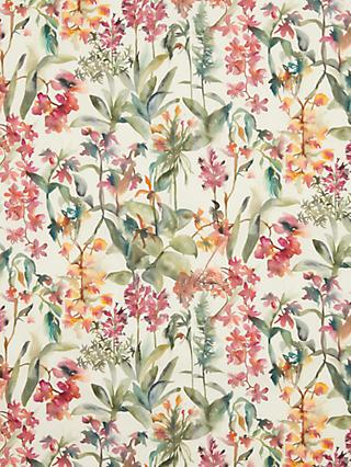 John Lewis & Partners Watercolour Flowers and Leaves Print Fabric, Pink