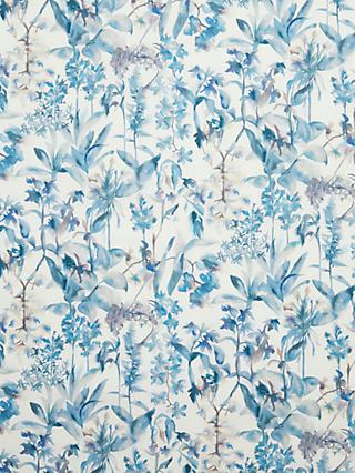 John Lewis & Partners Watercolour Flowers Print Fabric, White/Blue