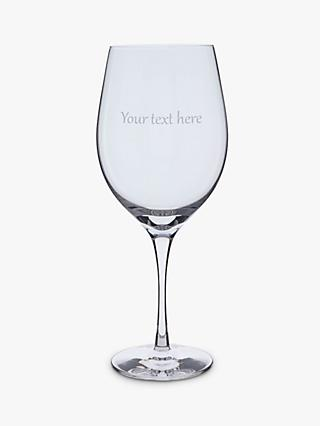 Dartington Crystal Personalised Bordeaux Red Wine Glass, Gabriola Font, 600ml