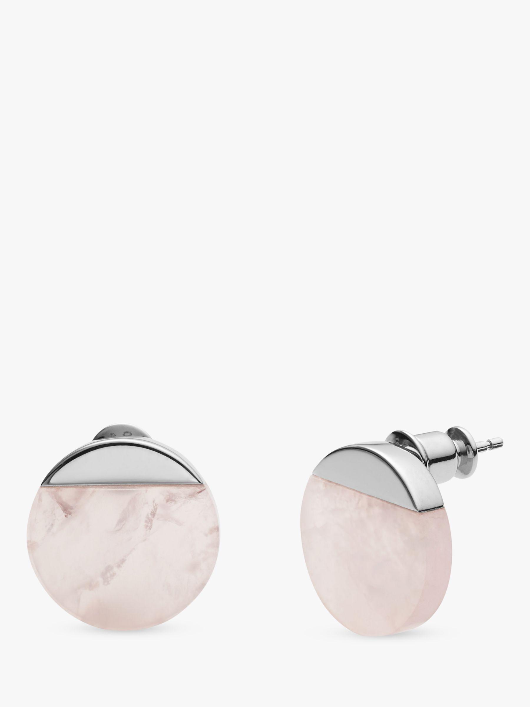 skagen Skagen Ellen Circular Rose Quartz Stud Earrings, Silver SKJ1184040