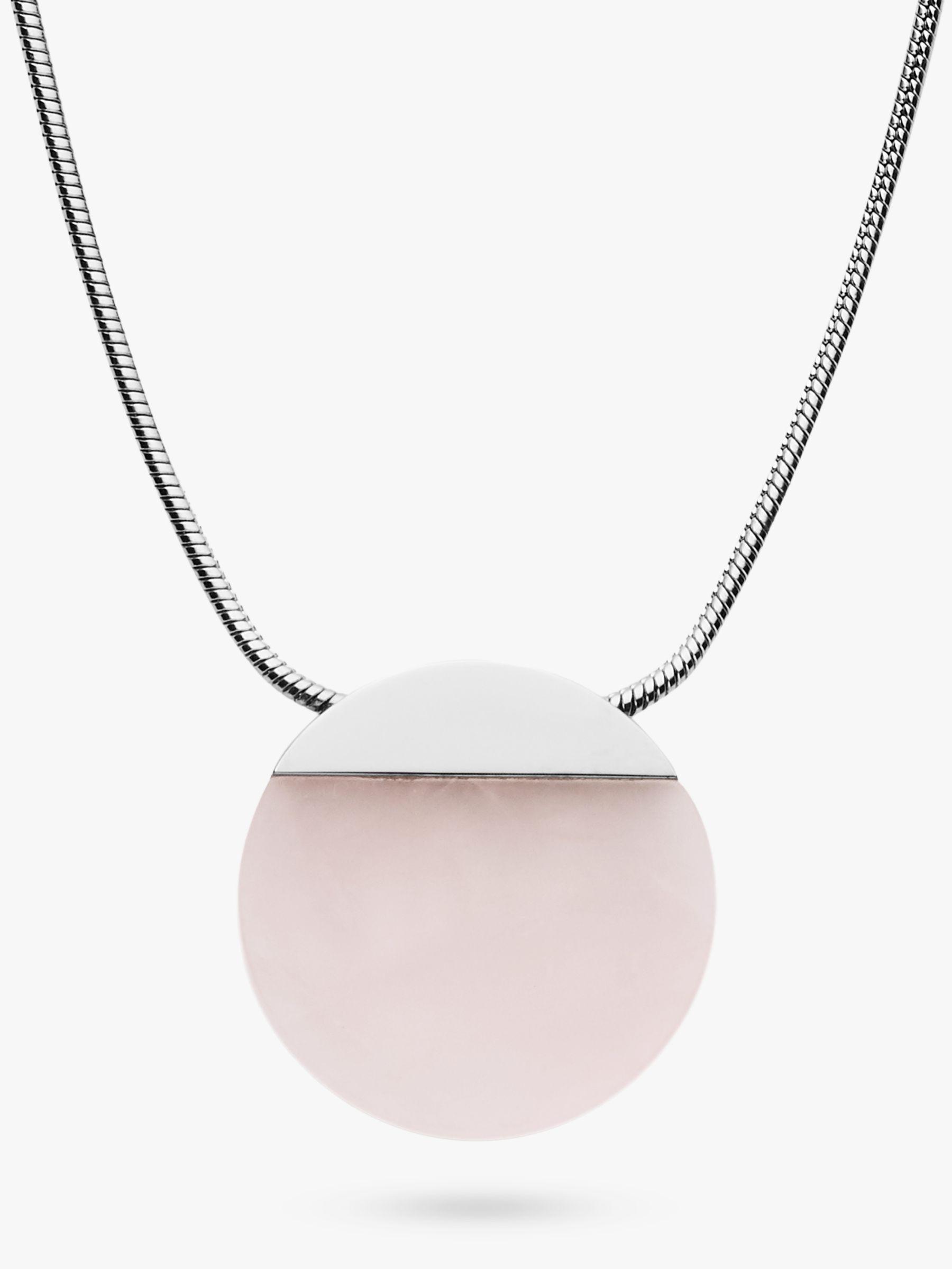 skagen Skagen Ellen Rose Quartz Round Pendant Necklace, Silver SKJ1183040