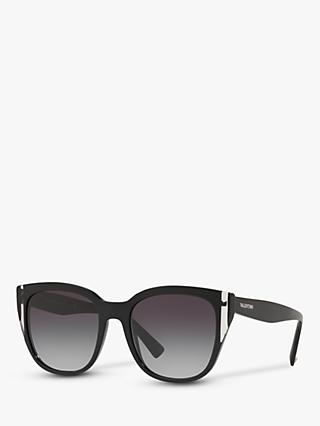 Valentino VA4040 Women's Oval Sunglasses, Black/Grey Gradient
