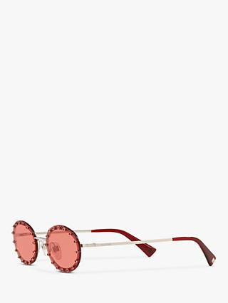 Valentino VA2027 Women's Oval Sunglasses, Silver/Red