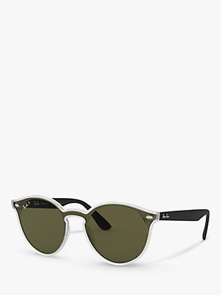 Ray-Ban RB4380N  Women's Polarised Oval Sunglasses, Black Clear/Green