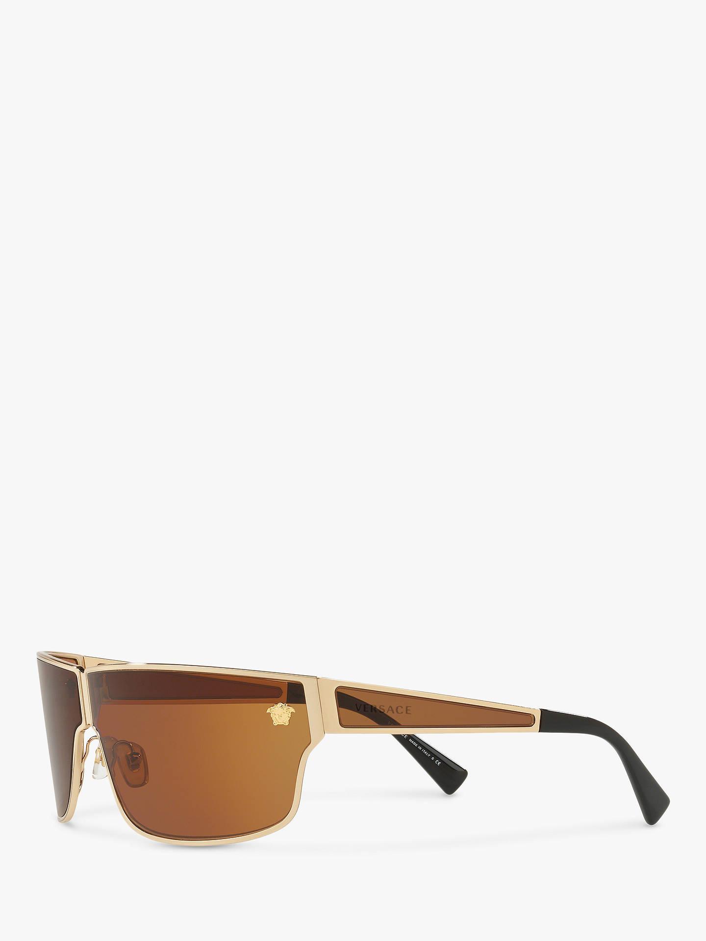 Versace Ve2206 Men S Rectangular Sunglasses Gold Brown