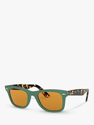 Ray-Ban RB2140 Women's Original Wayfarer Polarised Sunglasses, Green Multi/Yellow
